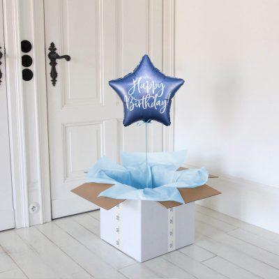 happy birthday niebieska gwiazdka balon z helem
